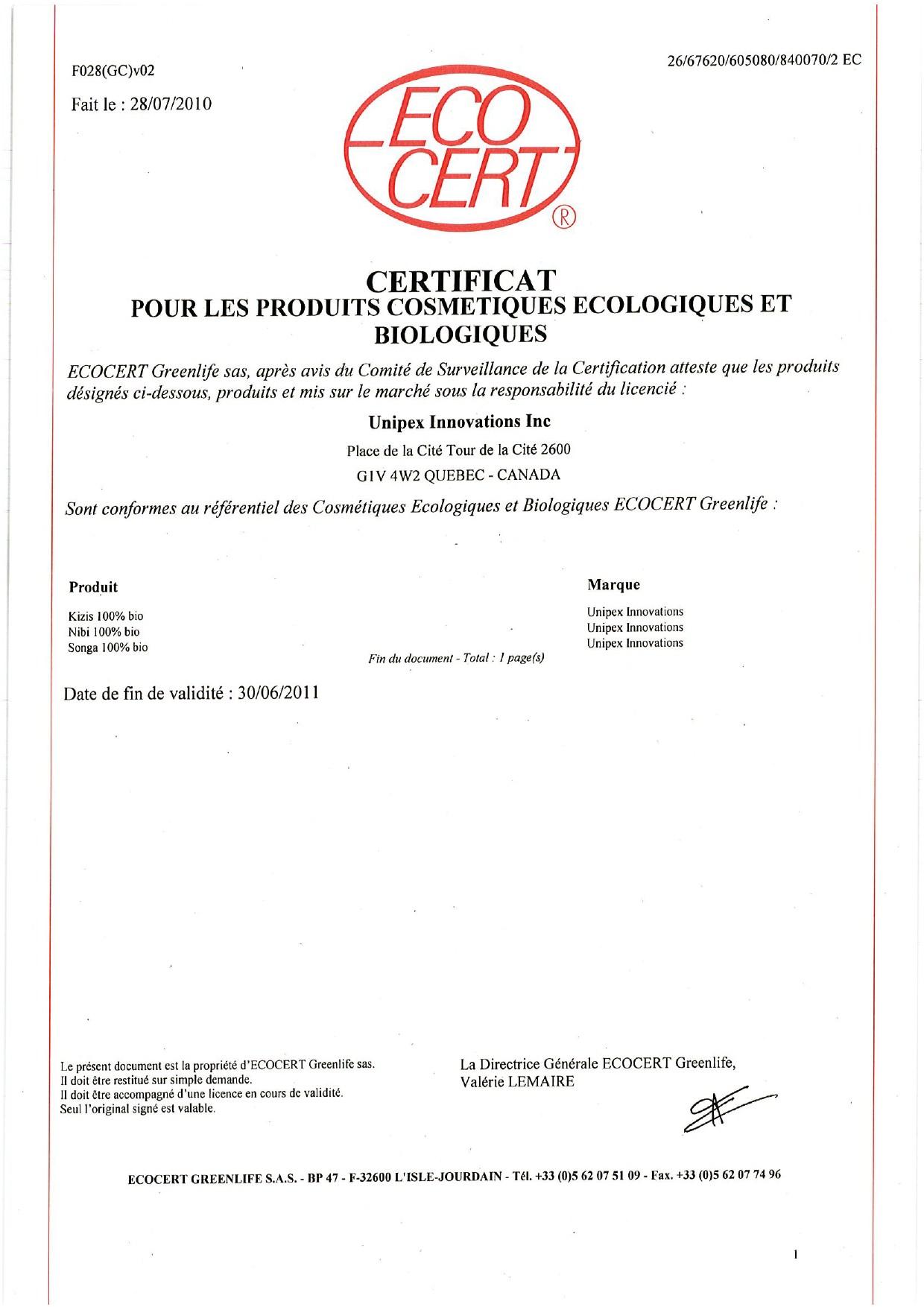 Certificat Ecocert 2010 2011