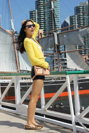 yellow-zara-blazer-peach-rebecca-minkoff-bag-black-h-m-shorts