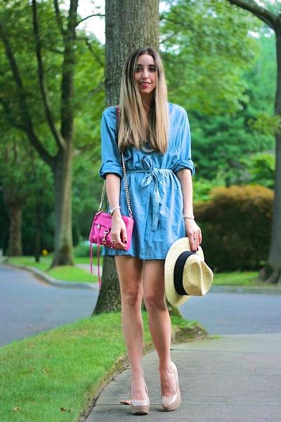 light-blue-chambray-h-m-dress-hot-pink-mini-mac-clutch-rebecca-minkoff-bag_400